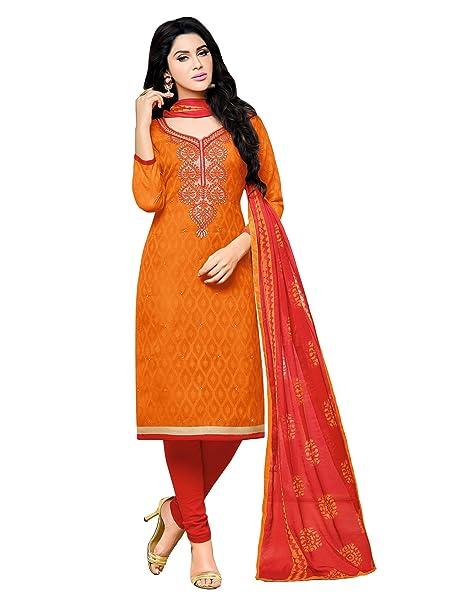 AppleCreation Women Cotton Dress Material (Orange_Orange dress material -9DRD97005_Free Size) Dress Material at amazon