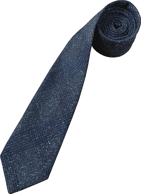 Grey /& Navy Check British Wool Tweed Neck Tie