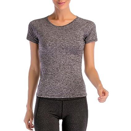 Amazon.com : DYZD Round Collar Short Sleeve T-Shirt Moisture ...