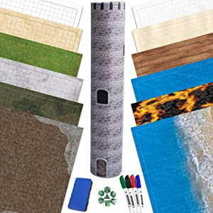 RPG Battle Game Mat - 6 Pack Dry Erase Double Sided 36