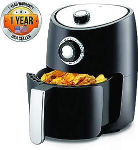 NutriChef, Ro Oven 2 Quart-1000w Power Oilless Dry Machine Large Capacity Family Size Air Fryer Removable Deep Non-stick Teflon Fry Basket, Roasting Plate PKAIR, Black