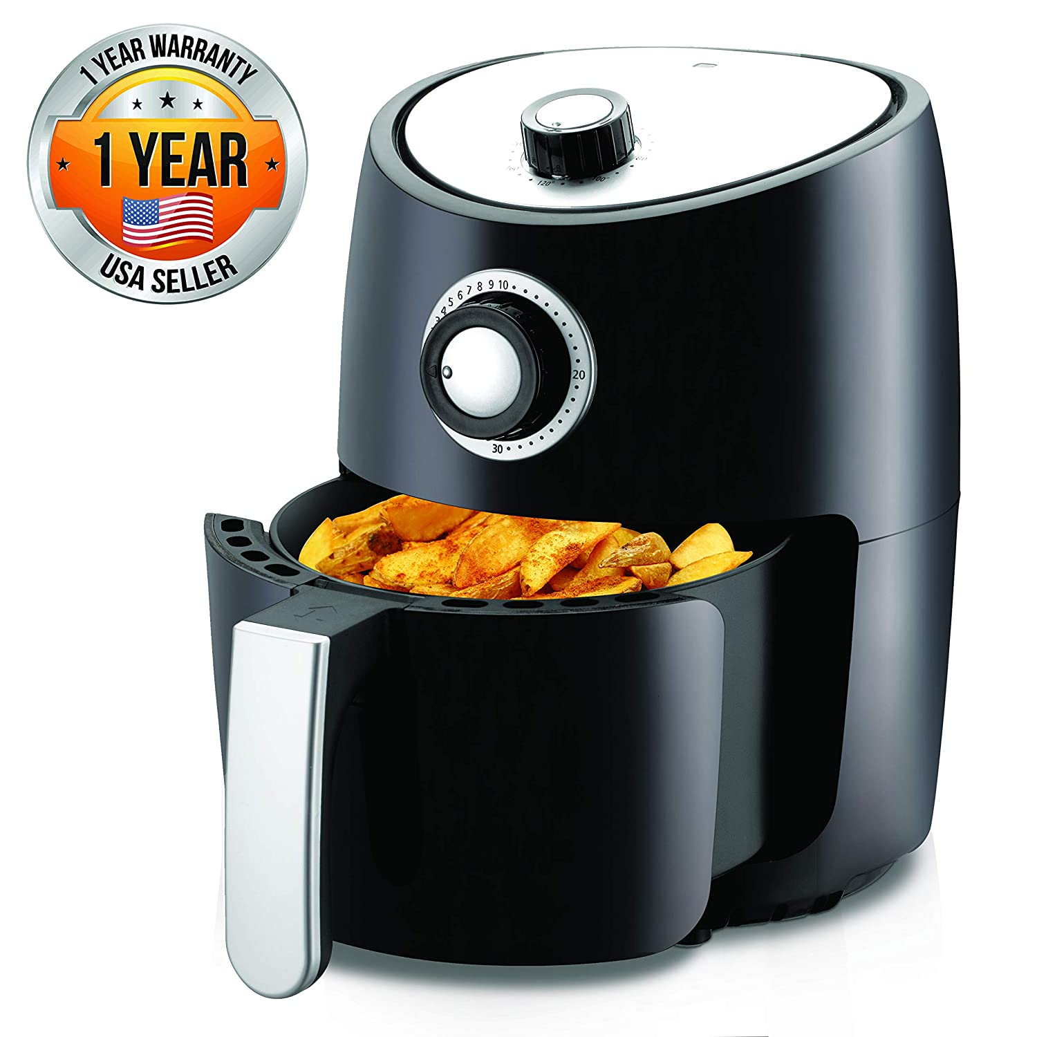 Air Fryer Oven 2 Quart - 1000w Power Oilless Dry Fryer Machine Large Capacity Family Size Air Fryer With Basket - Removable Deep Non-stick Teflon Fry Basket, Roasting Plate - Nutrichef PKAIRFR18