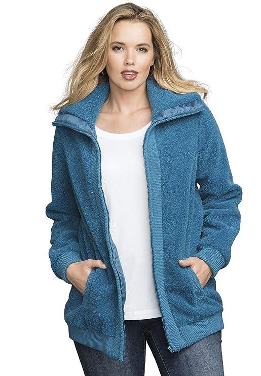 6d8879f5342 Roamans Women s Plus Size Fleece Bomber Coat at Amazon Women s Coats Shop