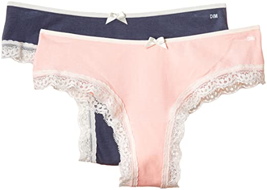 Dim Pocket Coton Dentelle - Shorty - Lot de 2 - Femme - Multicolore (Lot f177cb8a0e5