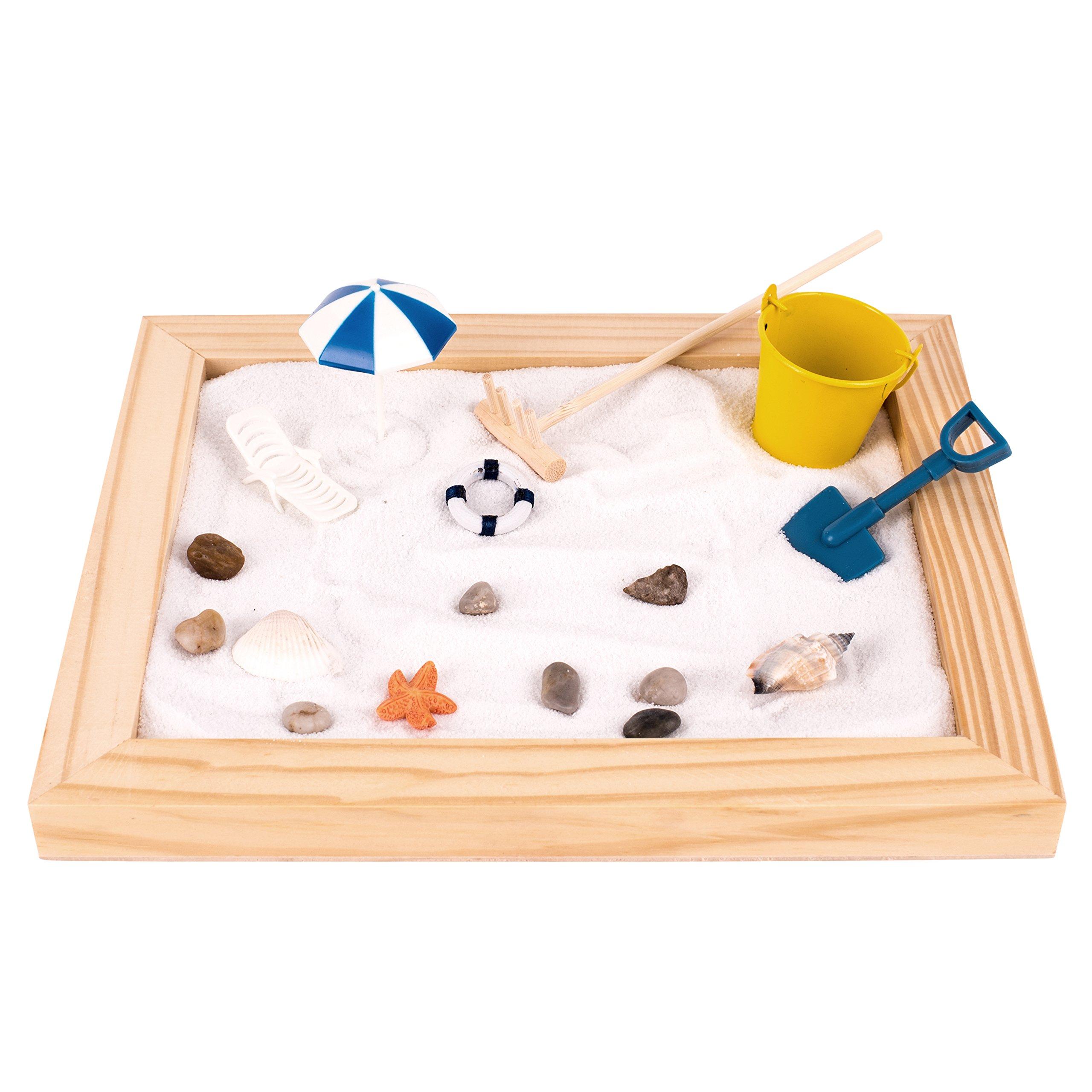 Deluxe Wooden Zen Sand Garden with Beach Toys, Shells, Rocks, Sand, and Rake (Model# RG-005)