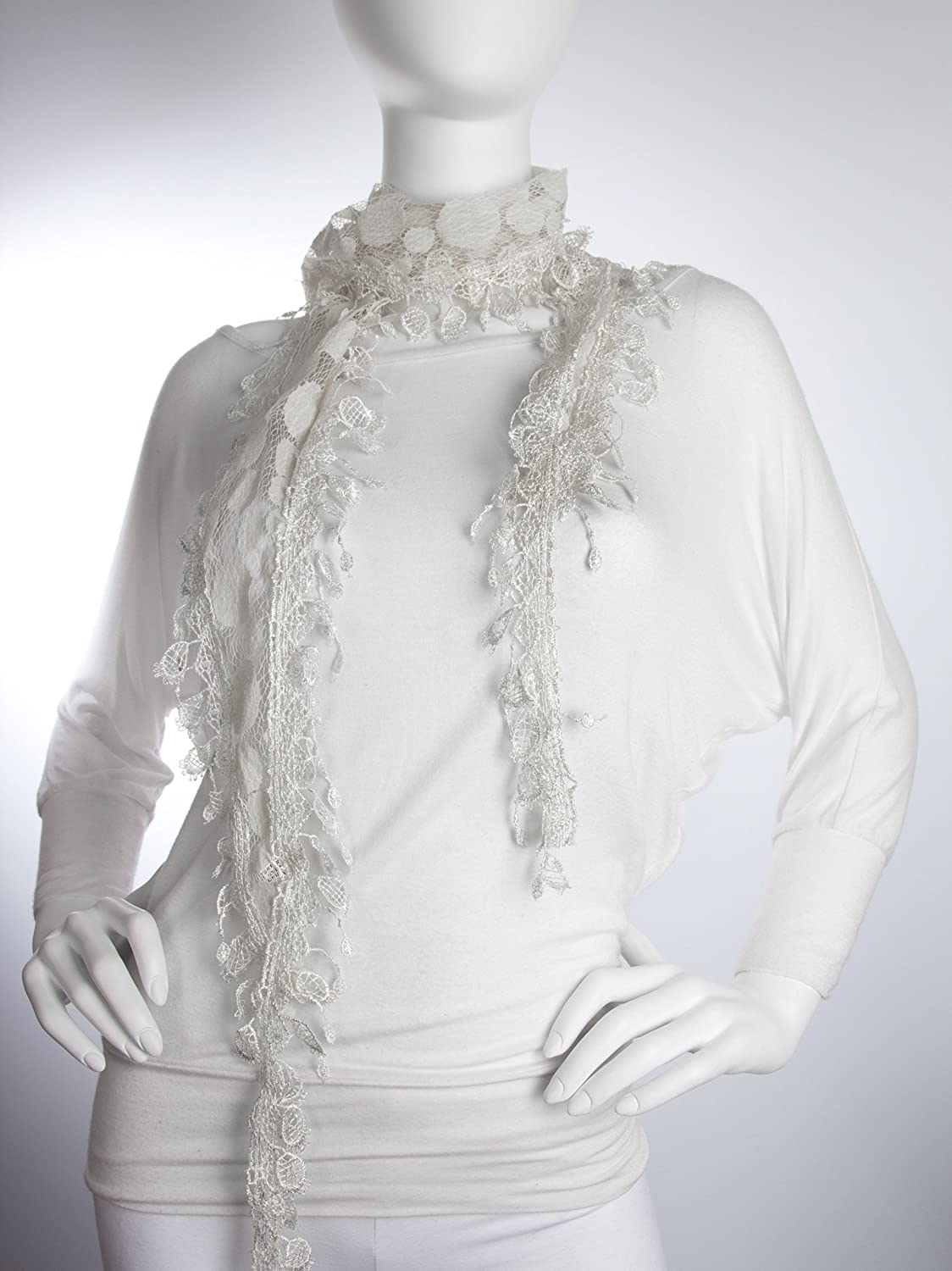 Vintage Scarves- New in the 1920s to 1960s Styles Bohomonde April Scarf Polka-dot Lace net scarf with crochet lace trim $14.95 AT vintagedancer.com