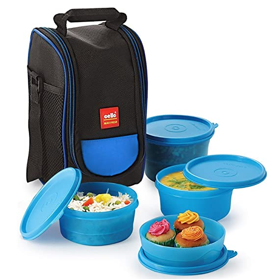 Cello Max Fresh Super PP Lunch Box, 4 Containers, Blue