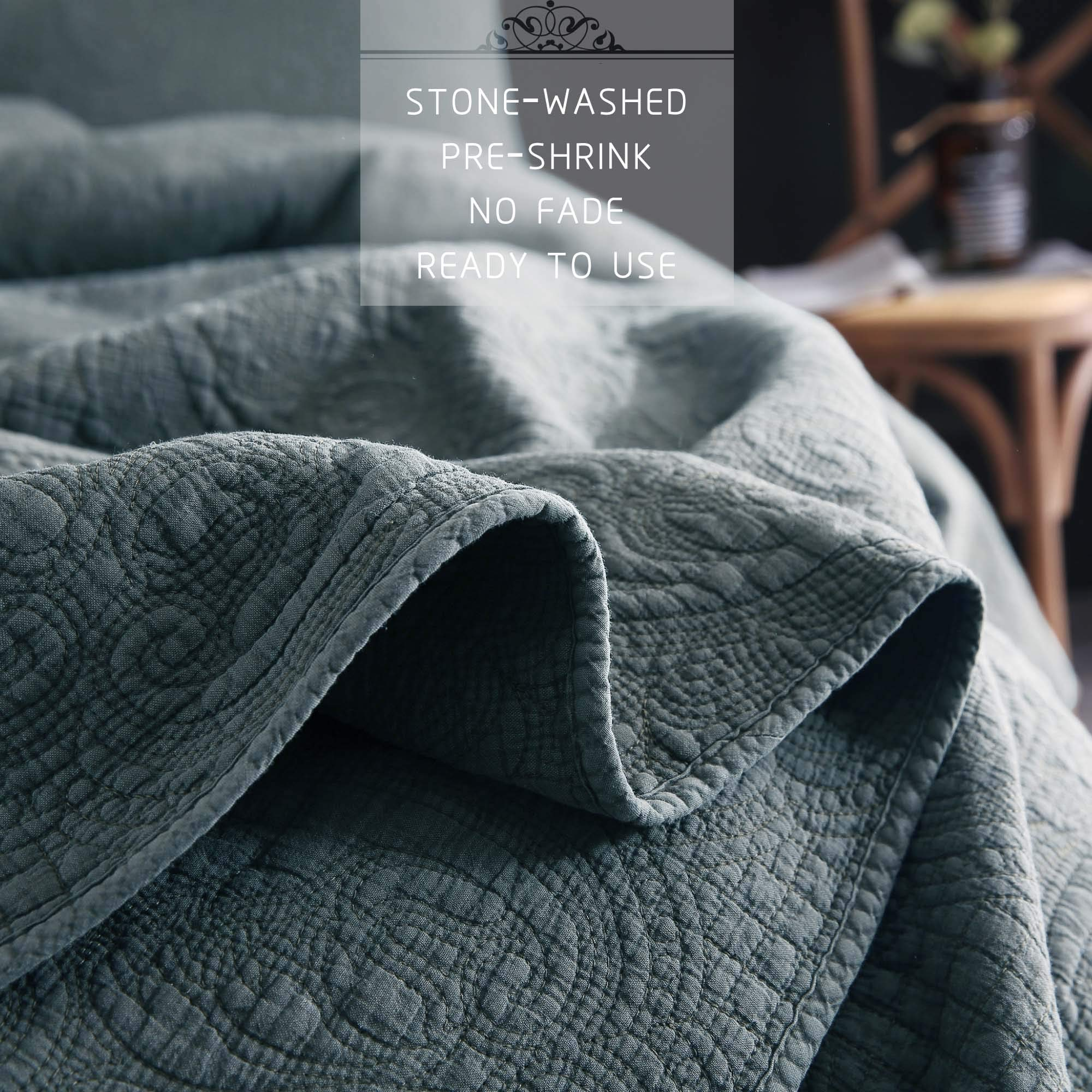 CDM product KASENTEX Stone Washed Quilted Coverlet Set with 2 Standard Shams, 100% Cotton Ultra Soft Bedspread, Traditional Country Chic Floral Embroidery Patterned, Full/Queen, Chambray Blue small thumbnail image