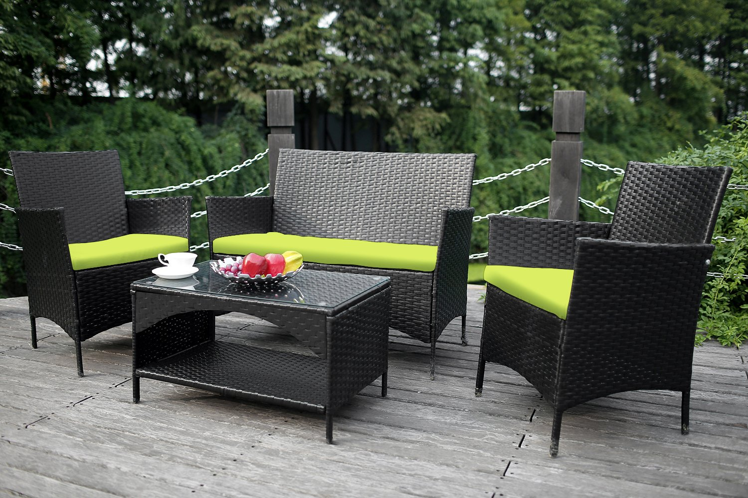 amazoncom merax 4 piece outdoor pe rattan wicker sofa and chairs set rattan patio garden furniture set cushion green garden outdoor
