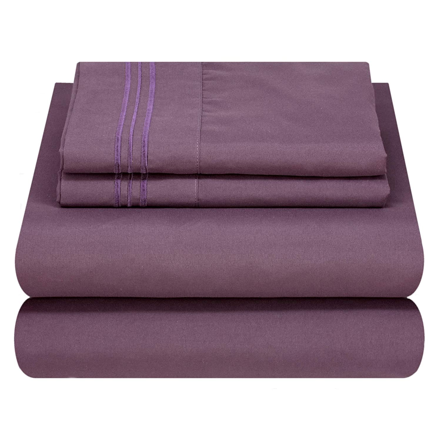 Mezzati Luxury Bed Sheet Set - Soft and Comfortable 1800 Prestige Collection - Brushed Microfiber Bedding (Purple, Queen Size)