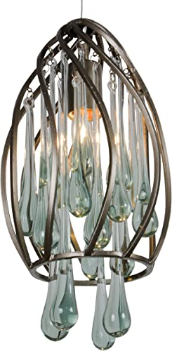 Area 51 1-Light Mini Pendant – New Bronze Finish with Handmade Recycled Glass Drops Shade