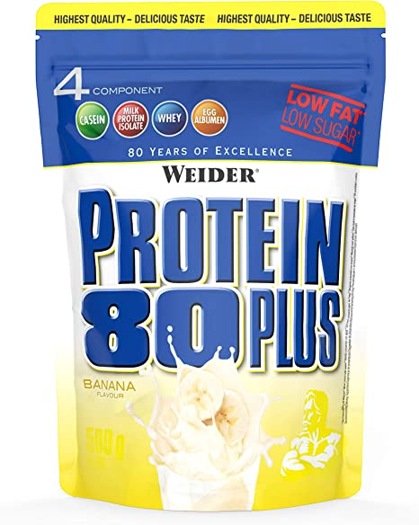 Weider Protein 80 Plus, Proteina de suero de suero de leche, Sabor Plátano, 500 gr