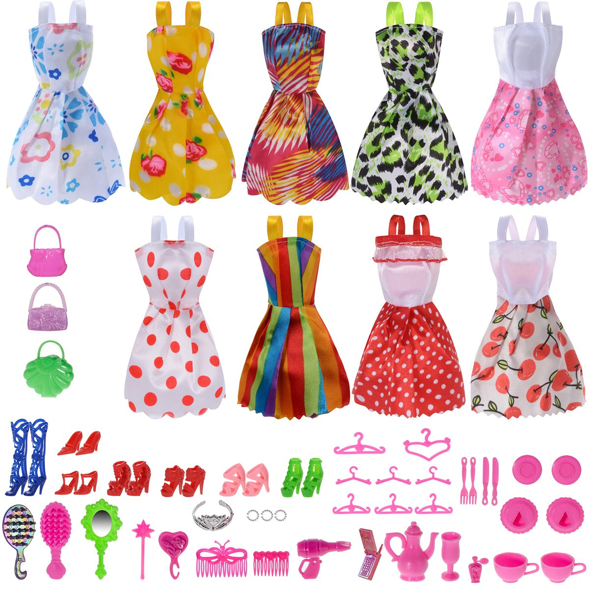 Total 50pcs -9 Pack Doll Clothes Party Gown Outfits +41pcs Different Doll Accessories Shoes bags Glasses Necklace Tableware Mirror For for Barbie doll Girl Birthday Gift PGXT