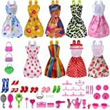 Total 50pcs -9 Pack Barbie Doll Clothes Party Gown Outfits +41pcs Different Barbie Accessories Shoes bags Glasses Necklace Tableware Mirror For for Barbie doll Girl Birthday Gift