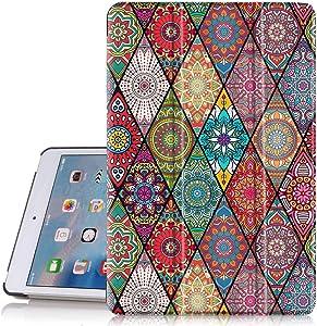 """Hocase iPad Mini 5 Case, Folio PU Leather Smart Case w/Unique Flower Design, Auto Sleep/Wake Feature, Microfiber Lining Hard Back Cover for iPad Mini 5 2019/iPad Mini 4 2015 (7.9"""" Display) - Mandala"""