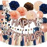 Qian's Party - Globos para fiesta de cumpleaños de oro rosa marino para mujer, color azul marino, dorado rosa, champán, meloc