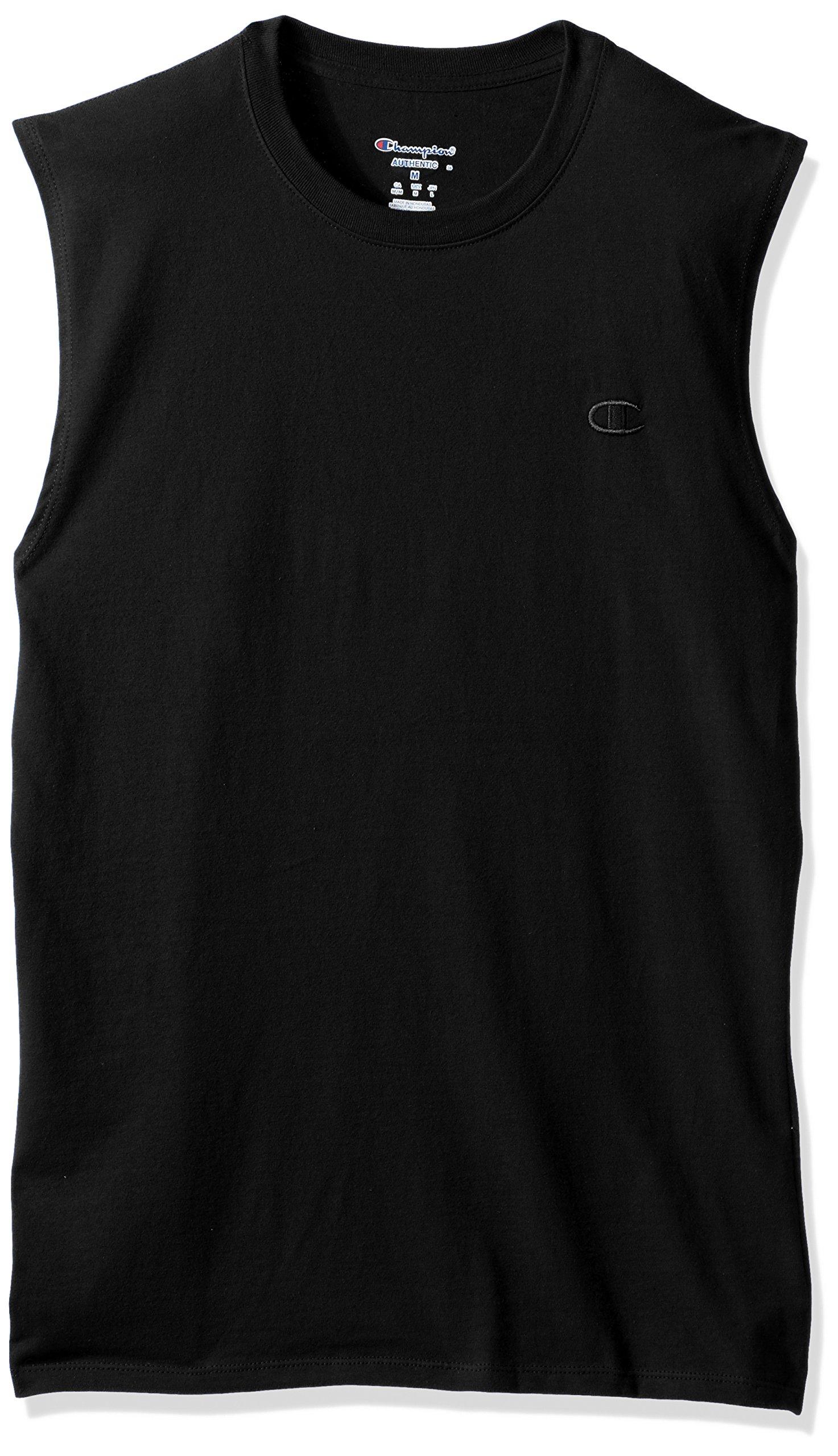 Champion Men's Classic Jersey Muscle T-Shirt, Black, 2XL