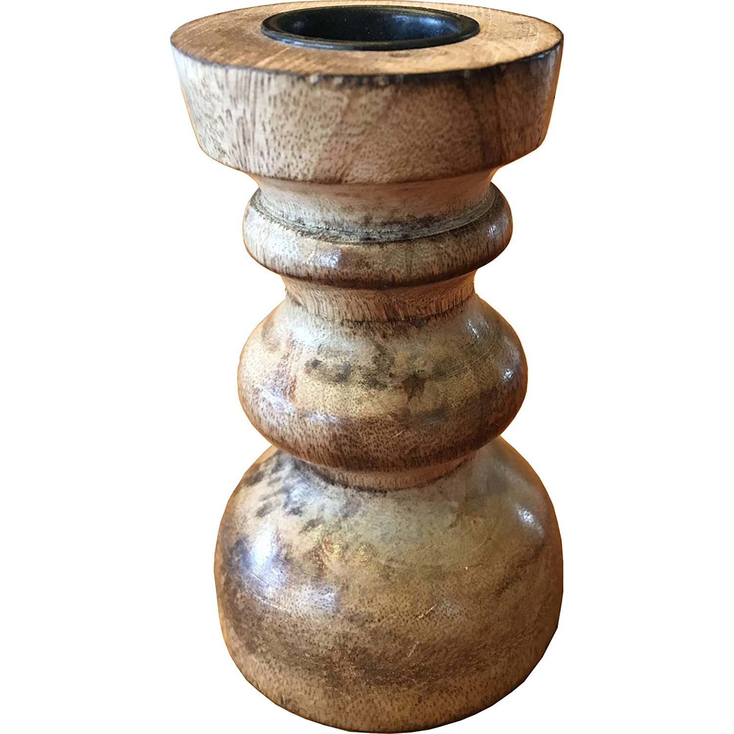 CANDLELIGHT Wooden Candlestick Candle Holder 10cm