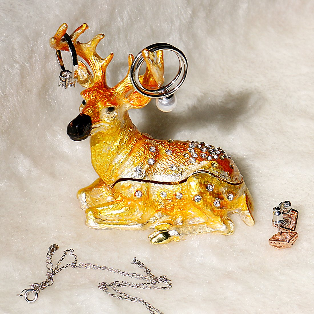 YUFENG Cute Deer Trinket Box Hinged for Girls Animal Figurine Collectible Wedding Ring Holder Favor Metal Table Centerpiece by YUFENG (Image #2)
