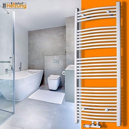 Gulfstream-Komfort Badheizkörper Handtuchwärmer Heizkörper Bad Chrom  Anthrazit Weiß (1600 x 500 mm, Weiß gebogen)