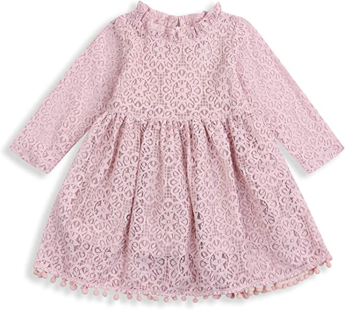 Amazon.com: Vestido de encaje hueco para niñas, vestido de ...