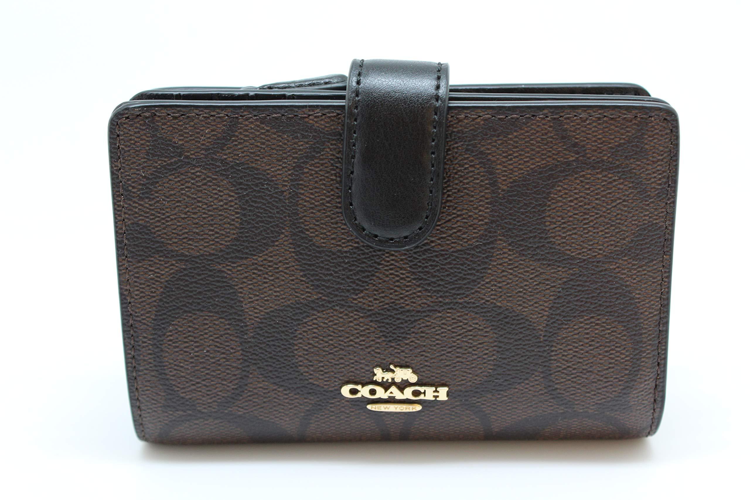 Coach PVC Medium Corner Zip Wallet Signature Brown Black 3173, Small
