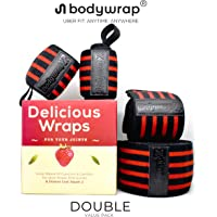 Knee Wrist Wrap BodyWrap 2.0 Adjustable Enhanced Compression Premium Pair of Knee Wrap (6FT) Support Strap & Hand Wrist Wrap With Thumb Loop (1.7FT) Brace - Unisex - Ideal for Squats, Cross Training WODs, Gym Workout, Weightlifting, Fitness & Powerlifting, Pain Relief + FREE Manual For Effective Wrap