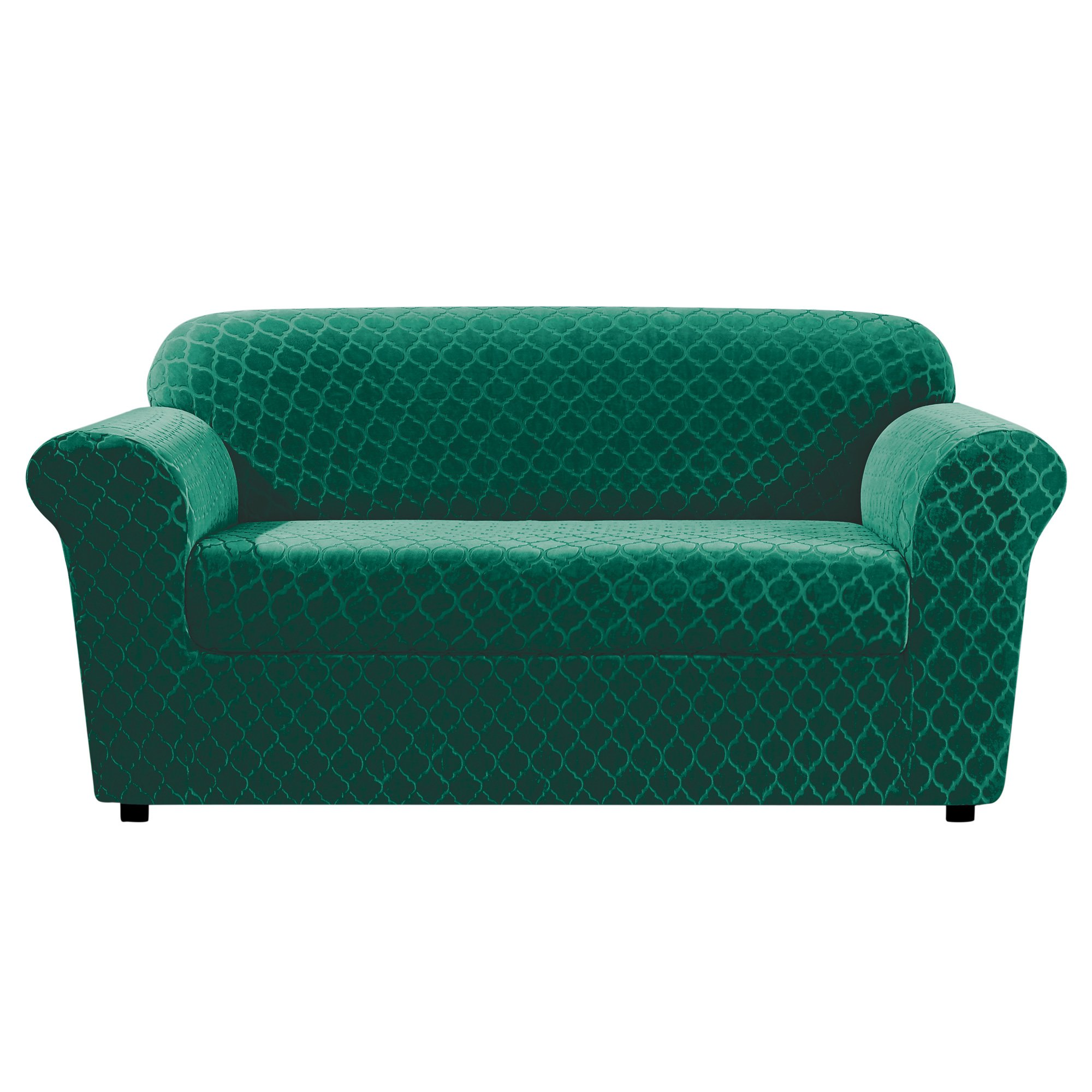 Sure Fit Stretch Grand Marrakesh Box Cushion Loveseat Slipcover - Emerald (SF46915)