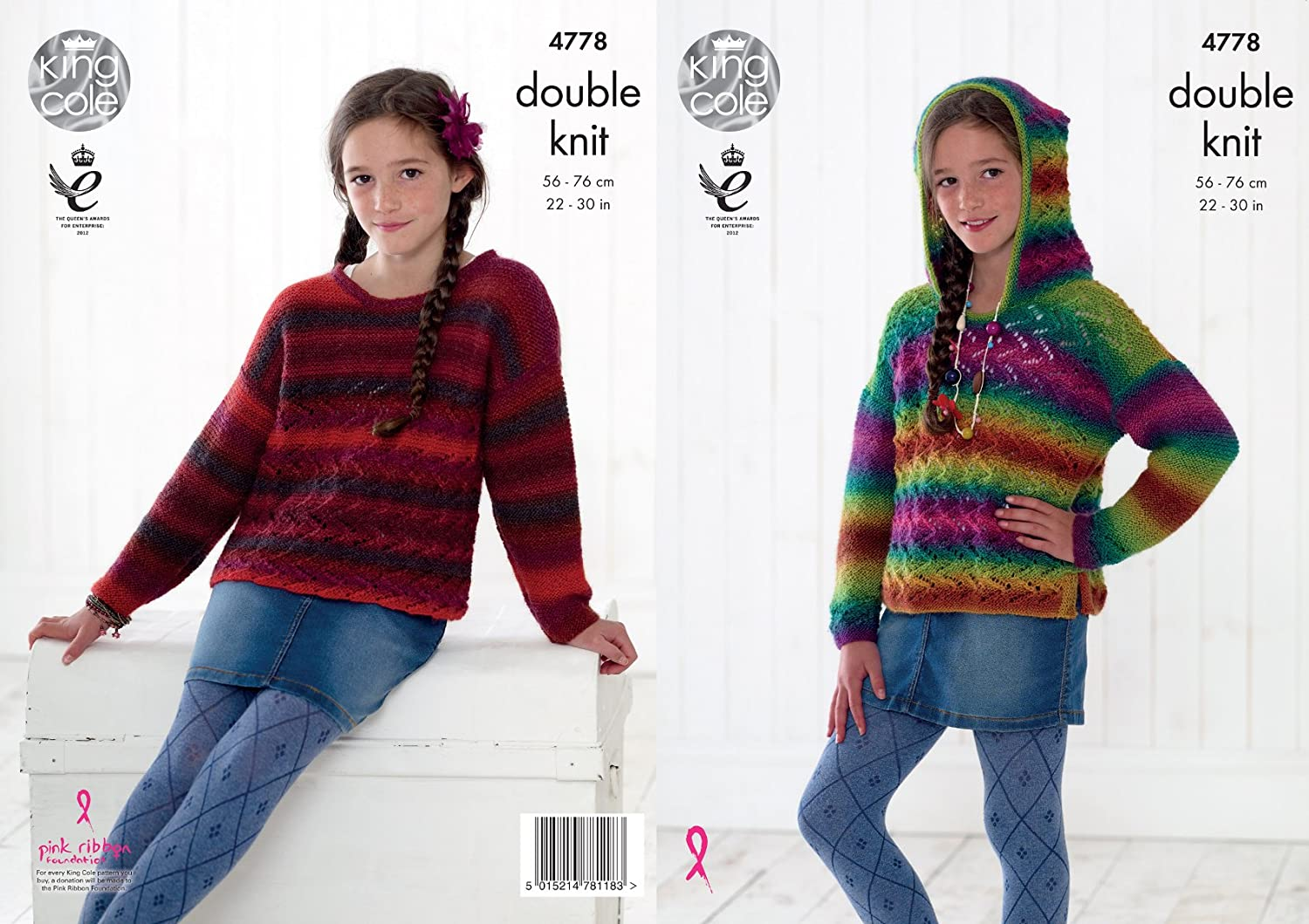 King Cole Girls Double Knitting Pattern Childrens Lacy Hoodie & Sweater Riot DK (4778)