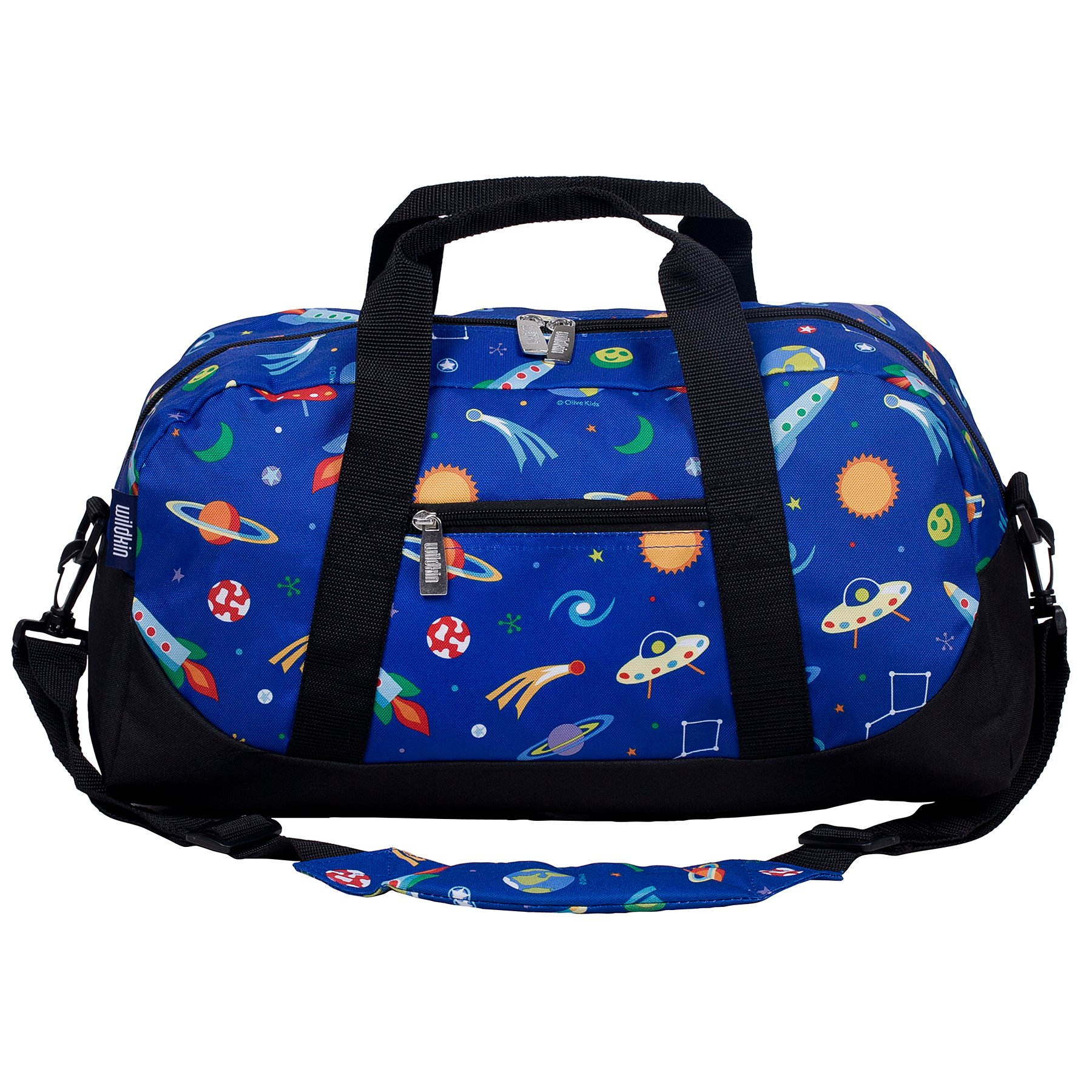 Wildkin Overnighter Duffel Bag, Features Moisture-Resistant Lining and Padded Shoulder Strap, Perfect for Sleepovers, Sports Practice, and Travel, Olive Kids Designs – Out of this World by Wildkin (Image #1)