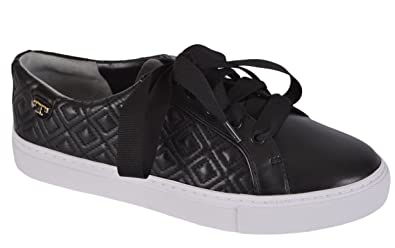 c44880da24041 Tory Burch Women s Marion Quilted Leather Black T Logo Sneakers (Size ...
