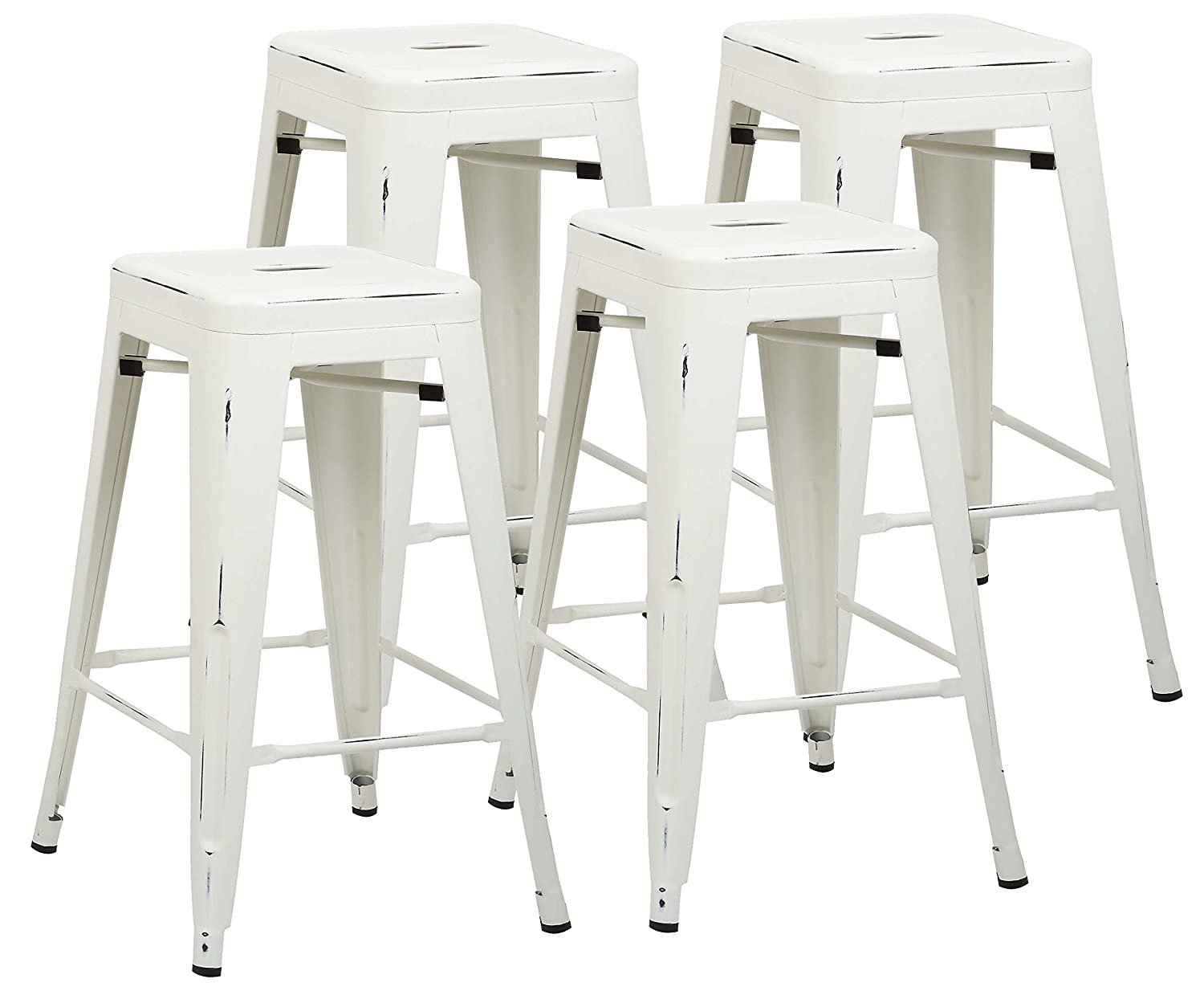 Poly and Bark Trattoria 24 Counter Height Stool in Distressed White Set of 4