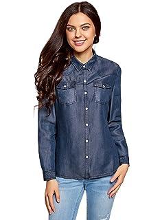 494ced95d6 oodji Ultra Mujer Camisa con Botones a Presión con Bolsillos en el Pecho