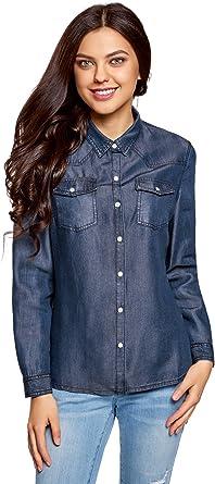 oodji Ultra Mujer Camisa con Botones a Presión con Bolsillos en el Pecho: Amazon.es: Ropa y accesorios