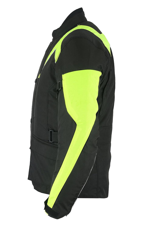 con certificado CE Sterling Sports/® Chaqueta de moto para hombre textil de alta visibilidad color negro//gris//negro//rojo impermeable