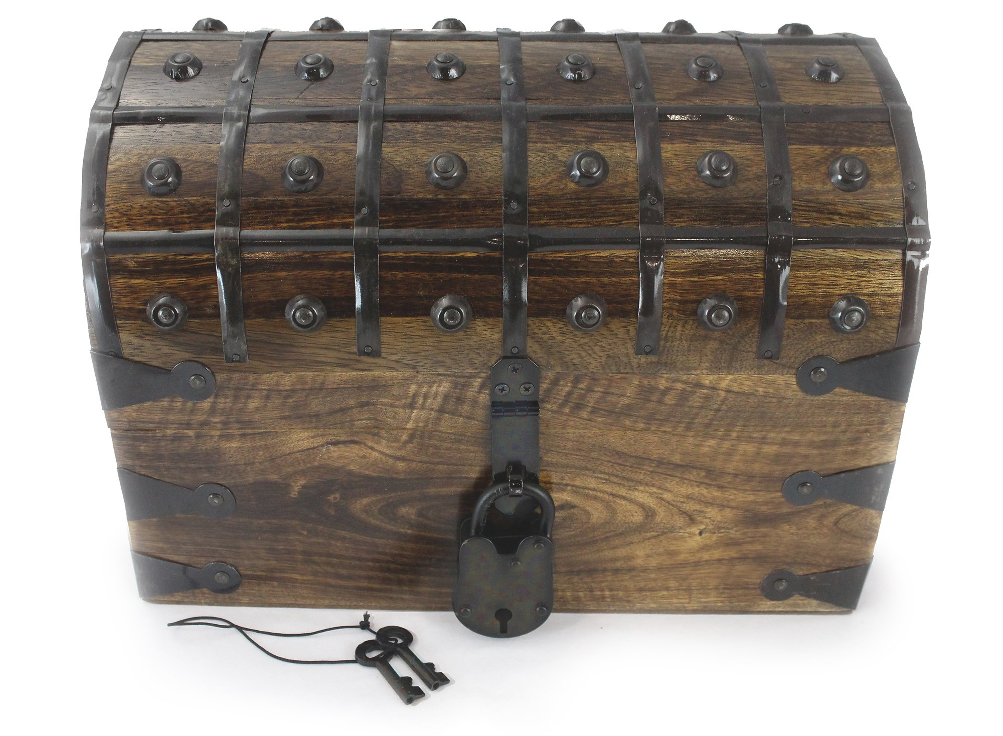 WellPackBox Large 12x9x9 Wooden Pirate Treasure Chest Box With Antique Style Lock And Skeleton Key (Classic Large)