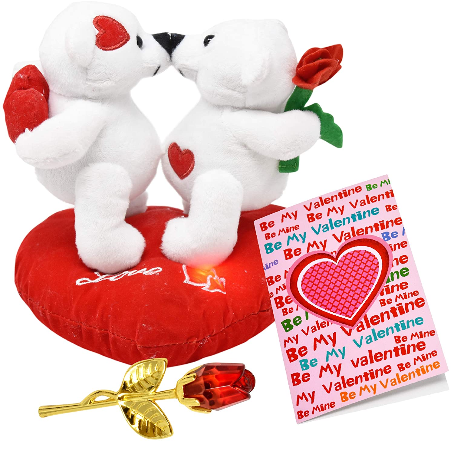 Valentine Bear Stuffed Teddy Plush Valentines Talking Kissing Love Bears on Heart Pillow, 3 Inch Forever Glass Rose in Gift Box and Valentine Card for Her ...