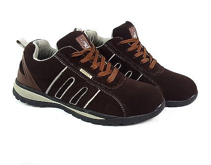 Zapatos de seguridad con puntera de acero para hombre o mujer, Grey/Brown Suede, 9
