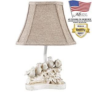 AHS Lighting L1950AW Bird Chorus Decorative Accent Lamp Natural Beige Polyresin Perfect, arm Tables, Bookshelf, Bed-Side, Fireplace Mantel, Cabin Cottage Style Homes
