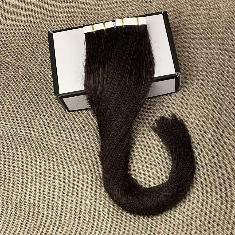 Komorebi #2 Darkest Brown-22Inch Remy Hair Tape In Hair Extensions Human Hair Darkest Brown 20pcs 50g Long Straight Skin Weft Hair Invisible Double Sided Tape Human Hair
