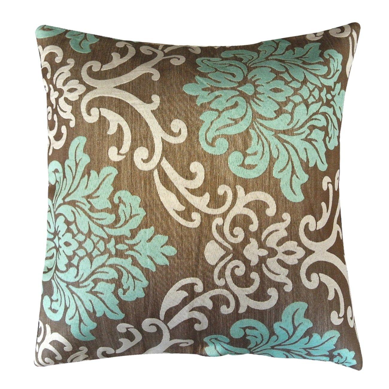 Brown and teal throw pillows - Amazon Com Kella Milla Regal Damask Throw Pillow Cover Grey Magenta Home Kitchen