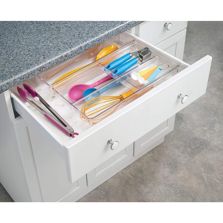 InterDesign - Linus - Organizador de 2 niveles, para cajón; Para guardar cubiertos, utensilios, cosméticos, artículos de oficina - Claro