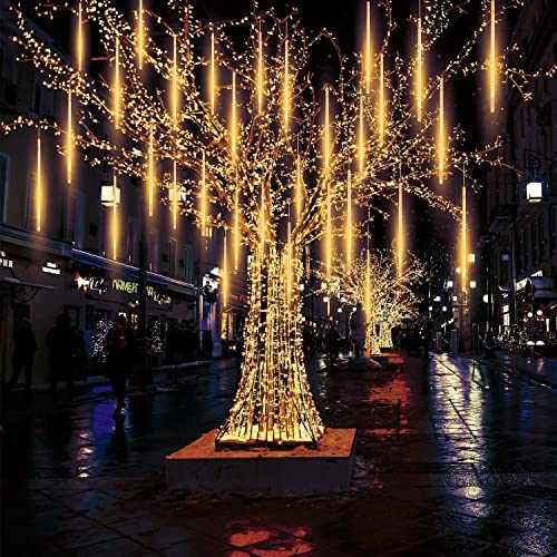 Meteor Lights, Pomelotree 20in 10 Tubes 540 Waterproof LED Meteor Shower Rain Cascading Lights for Wedding Christmas New Year Party Tree Decoration Warm White