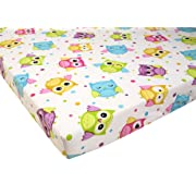 Pack N Play Playard Sheet 100% Premium Cotton Flannel,Super SOFT, Fits Perfectly Any Standard Playard Mattress up to 3  Thick, OWL