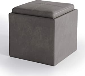 SIMPLIHOME Rockwood 17 inch Wide Square Cube Storage Ottoman with Tray in Upholstered Distressed Slate Grey Faux Air Leather, Footrest Stool, Coffee Table for the Living Room, Bedroom and Kids Room