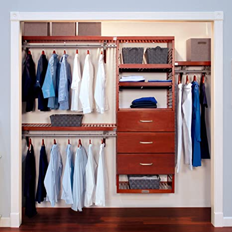John Louis Home 16in. Deep Deluxe Organizer with 3 Drawers (10in. Deep) - Red Mahogany Finish best closet shelving systems