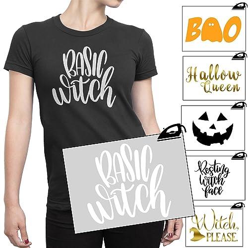 7888f2fca Halloween Iron On T Shirt Transfer Pumpkin Face Witch Horror Scary Fancy  Dress PREMIUM VINYL: Amazon.co.uk: Handmade