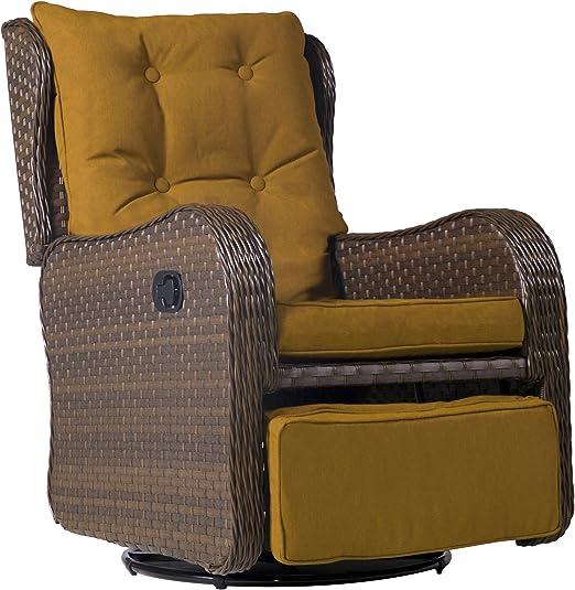 Cloud Mountain Mimbre para patio de 360 grados, giratorio, balancín, sofá, silla acolchada para exterior, interior, jardín, columpio, club, silla, sofá, silla, arena oscura: Amazon.es: Jardín