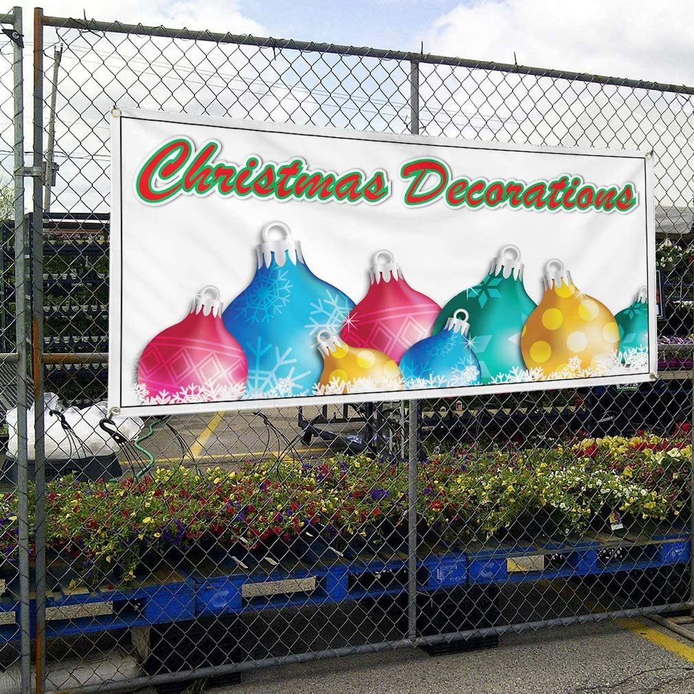 Vinyl Banner Multiple Sizes Christmas Decorations Business A Holidays and Occasions Outdoor Weatherproof Industrial Yard Signs White 10 Grommets 60x144Inches