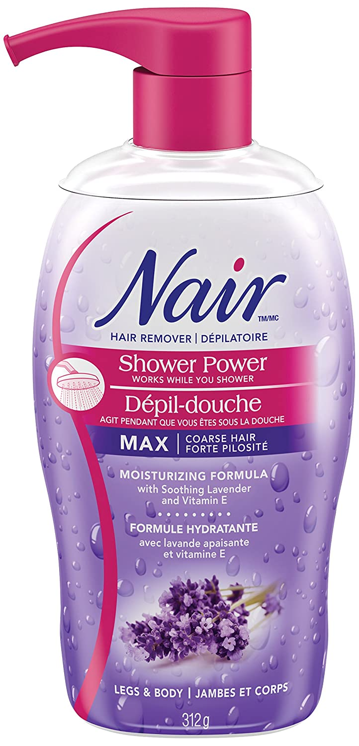 Nair Shower Power MAX Hair Remover for Coarse Hair on Legs & Body with Soothing Lavender and Vitamin E, 312-g